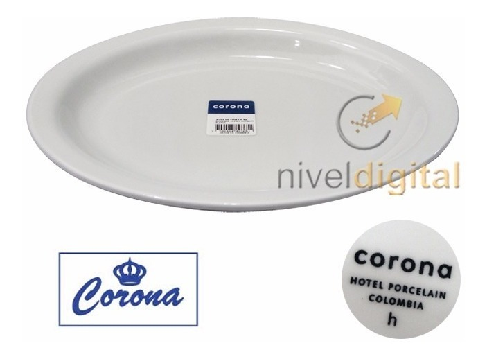Bandeja Ovalada 26 X 21 Cm Porcelana Corona Actualite