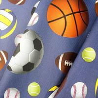 Tecido corino bolas esporte azul Larg. 1,40 m