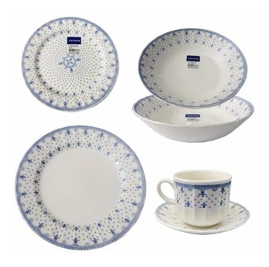 Juego Vajilla 30 Piezas Corona Porcelana Plato Estilo Ingles