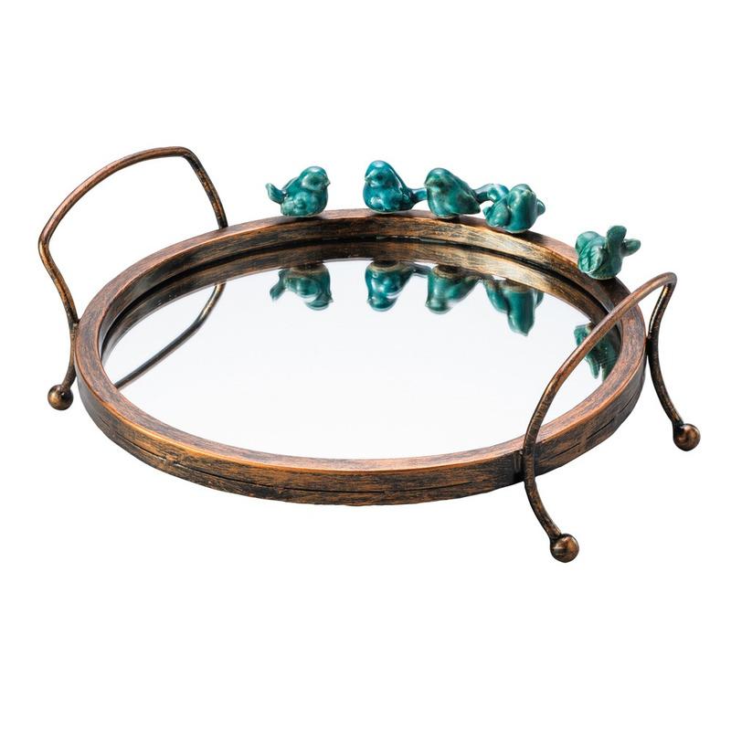 Bandeja Redonda com Pássados em Cerâmica e Ferro- Lyor 4103298