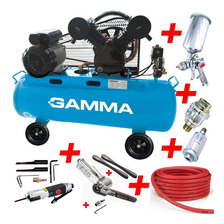 Combo Compresor Aire 100 L 3hp Gamma +herramientas Neumatica