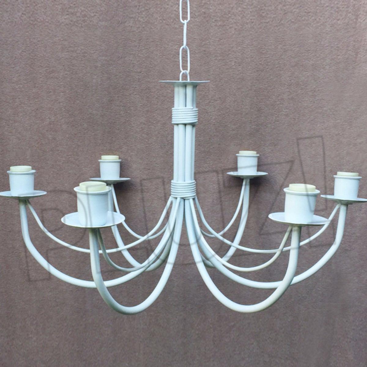 Lámpara Colgante Araña 6 luces Hierro Blanco