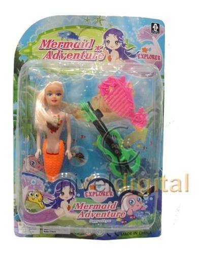 Mini Sirenita Muñeca Colores Accesorios Decoracion Tortas