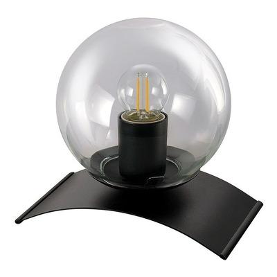Lampara Velador Globo Transparente Base Negra Apto Led E27