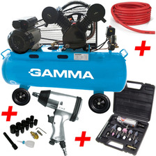 Combo Taller Compresor Aire 100 Litros Gamma + Herramientas