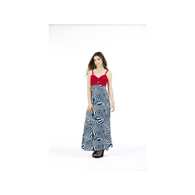 Vestido largo rojo con falda azul  003317