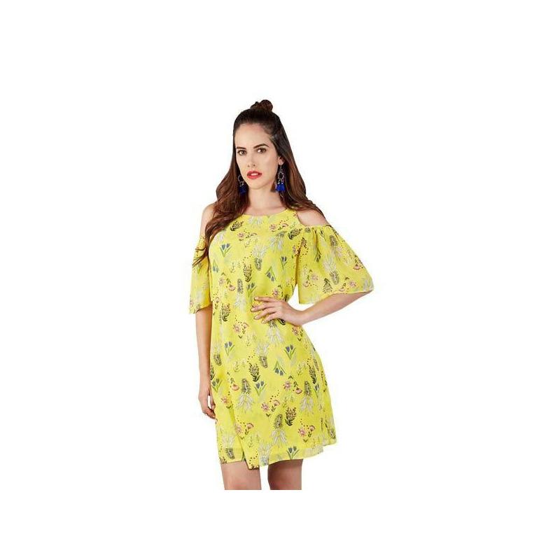 Vestido amarillo multicolor 015202