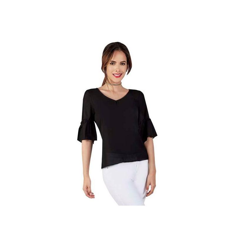 Blusa negra estampada manga 3/4  015420