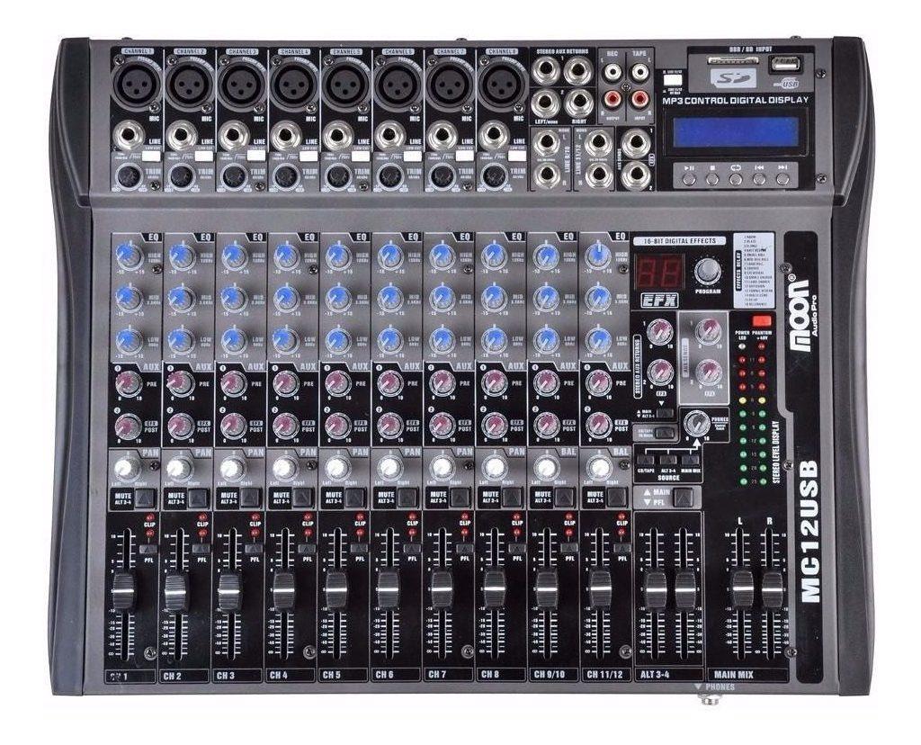 Consola De Sonido Moon Mc12 Usb 12 Canales Mixer Efectos Fx