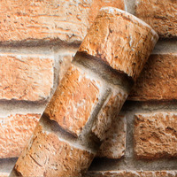 Adesivo para parede tijolos vermelho - Decorativo - Larg. 1,22  m