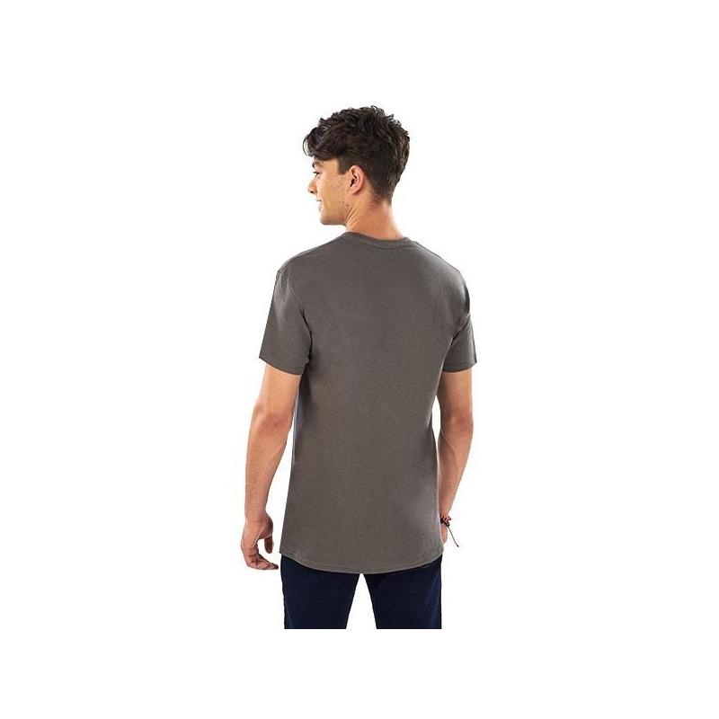 Camisa gris estampada manga corta 014609