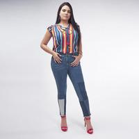 Pantalón Mezclilla Con Partes Multicolor 019410