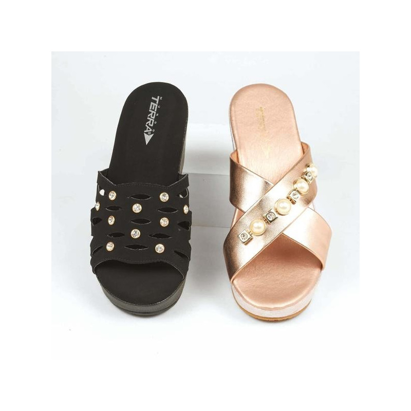 Combo sandalias negro y rosa 016516