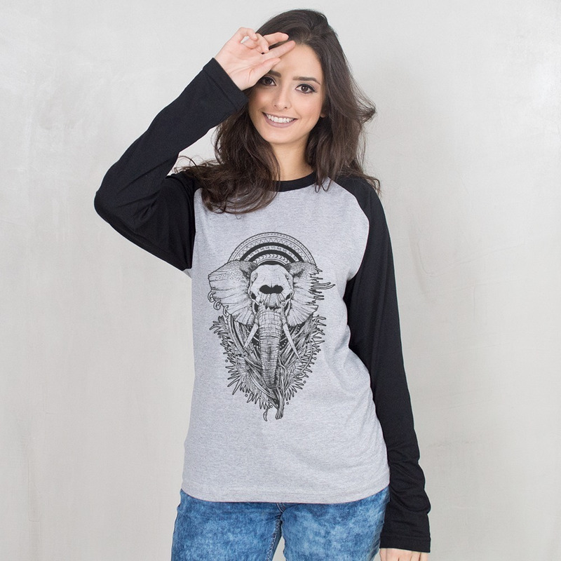 MANGA LONGA RAGLAN CINZA - ELEPHANT