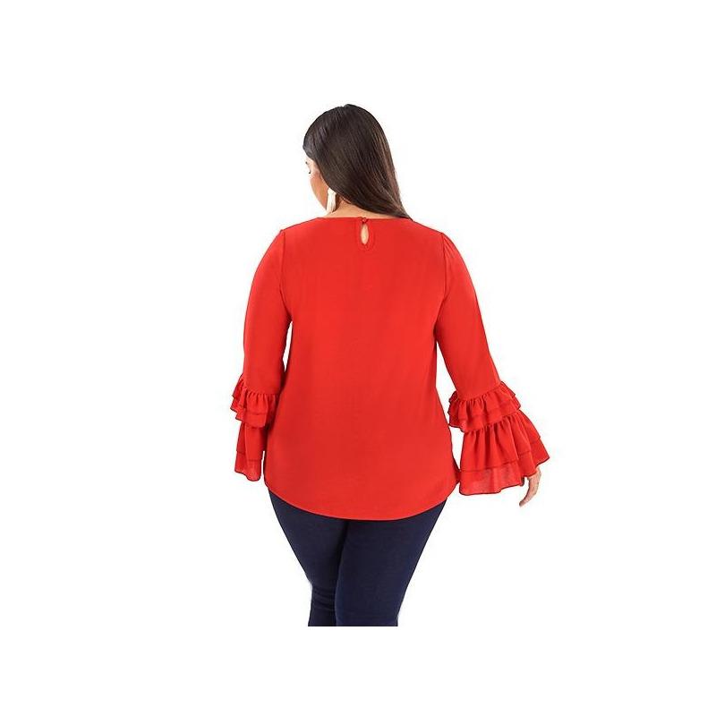 Blusa roja con olanes y moño  014382P