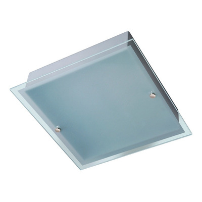 Plafon 2 Luces 30x30 Vidrio Borde Transparente Apto Led