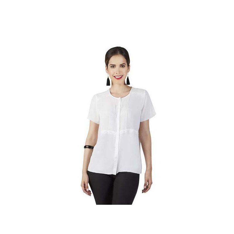 Blusa blanca manga corta 015188
