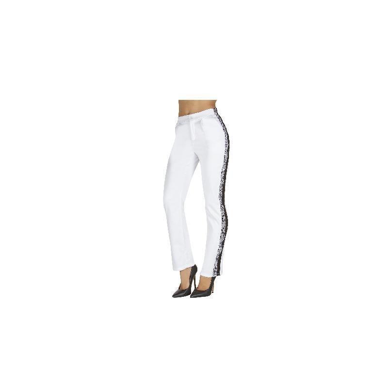 Pantalón blanco con franja negra 011550