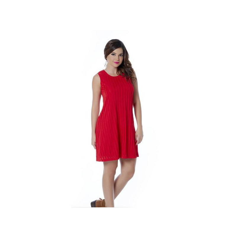 Vestido corto rojo sin manga 010573