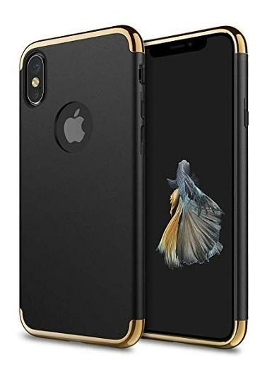 FUNDA ROYBENS SLIM BORDE DORADO IPHONE X NEGRO
