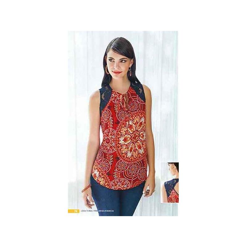 Blusa estampada roja manga corta 015201