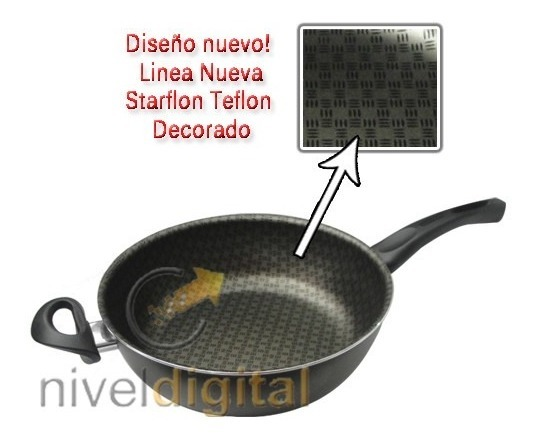 Sarten Con Tapa 26 Cm. Tramontina Starflon  Salida Vapor