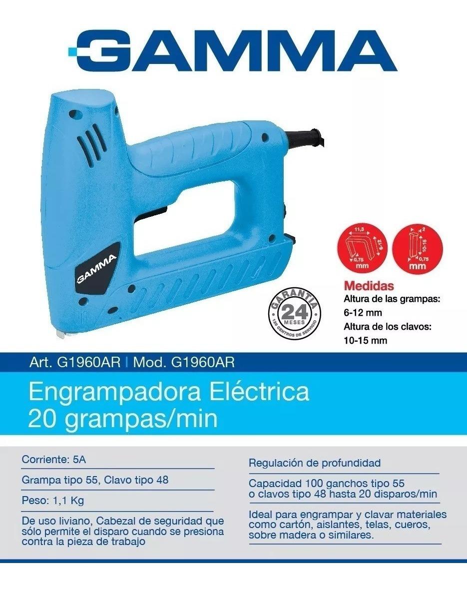 Engrampadora Clavadora 2 En 1 + Clavos + Grampas Gamma