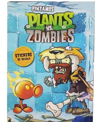 Plantas Vs Zombies Libro Para Pintar Con Juego Y Stickers