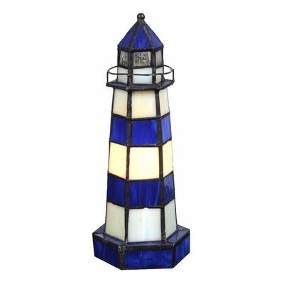 Lampara De Mesa Velador Tiffany Faro Azul Apto Led 303