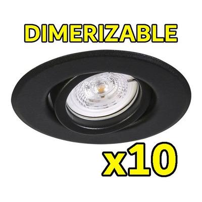 Pack X 10 Spot De Embutir Negro Movil Led 7w Completo