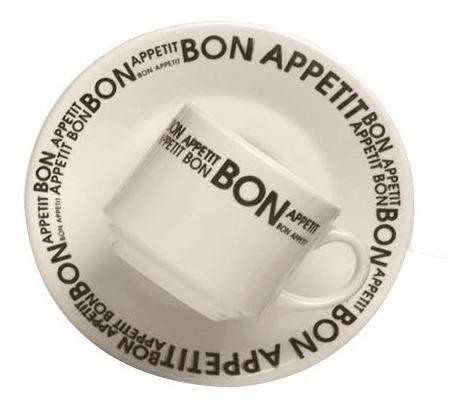 Taza C/ Plato 200 Ml Loza Biona Bon Appetit Desayuno Te Cafe