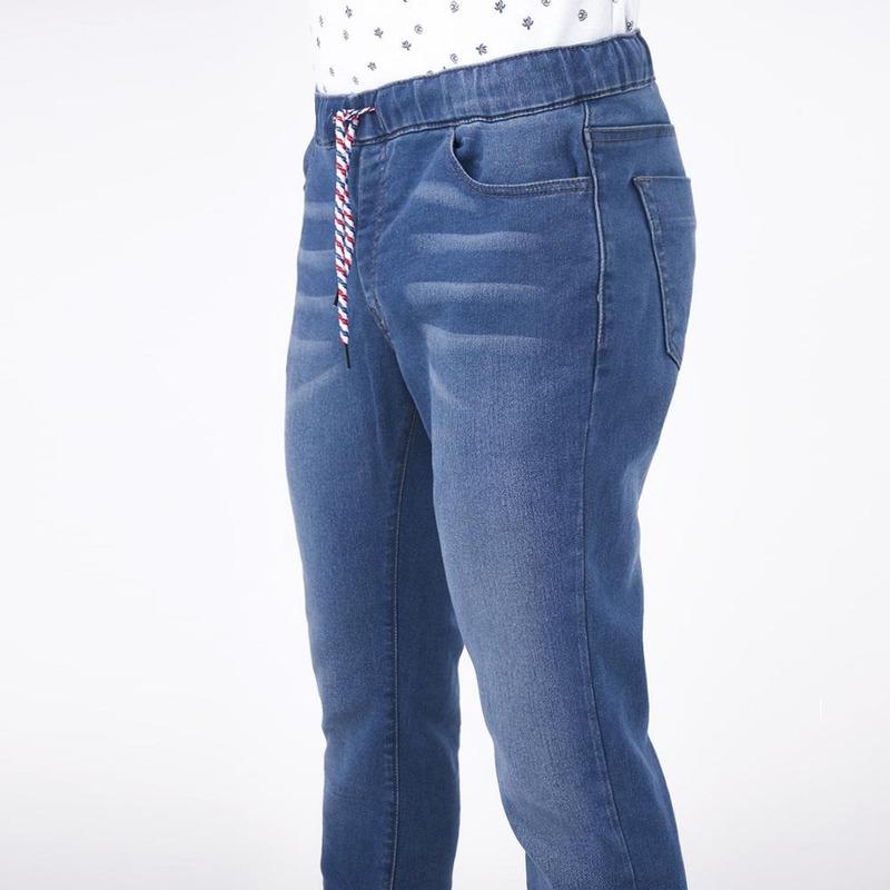 Pantalón Azul Mezclilla Con Cintas 019256