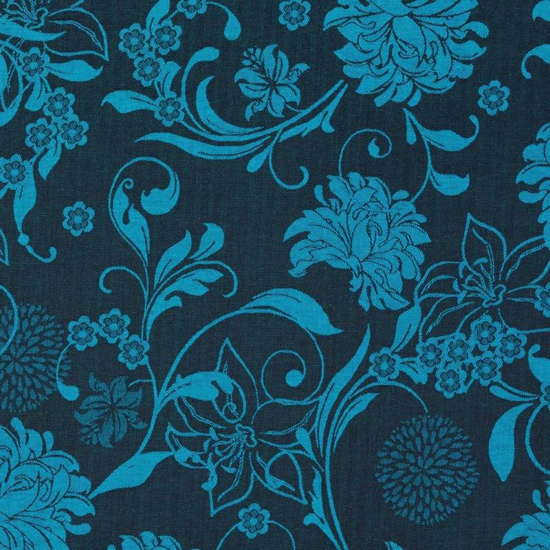 Tecido jacquard floral - azul/marrom - Impermeável - Coleção Panamá