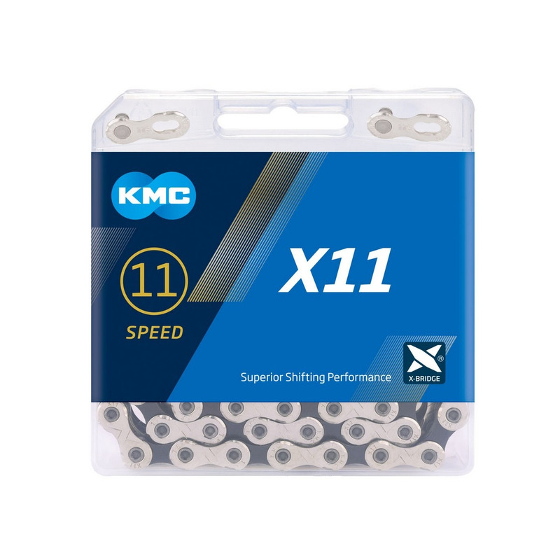 CORRENTE KMC X11 SILVER / PRATA C/ PRETO 118 ELOS - 11V