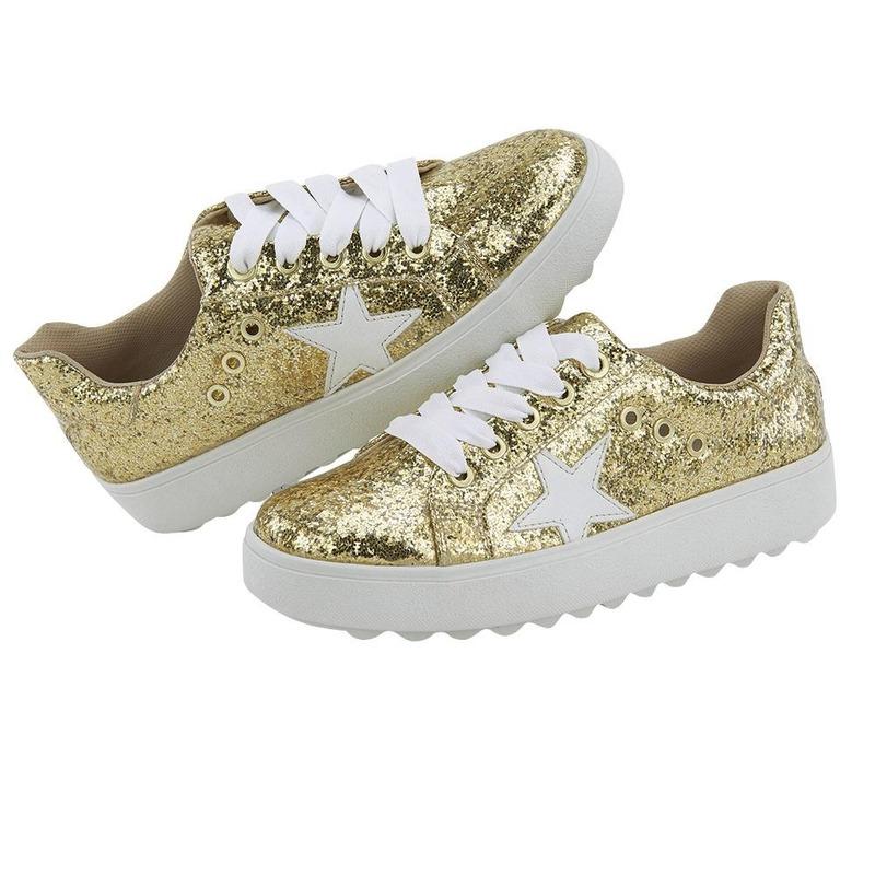 Sneakers Oro Brillanete Con Estrella 020872