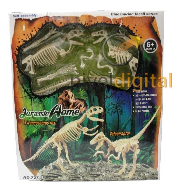 Set 2 Esqueletos Dinosaurio Velociraptor Tyrannosaurus Caja