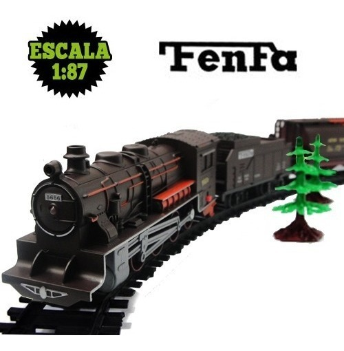 Tren Fenfa Locomotora + 3 Vagones Decorado Esc 1/87 En Caja