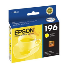 Cartucho Epson 196 T196 Original Amarillo Xp 401  411 Wf2512