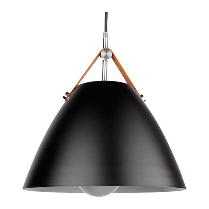 Colgante Haifa Negro Con Cuero 36cm Lampara Diseño Apto Led