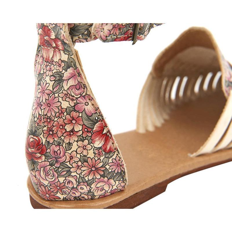 Sandalia De Piso Beige Con Estampado Floral 020977