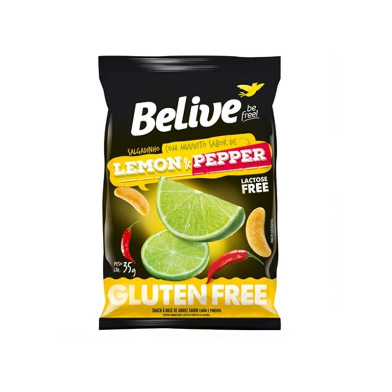 Snack de Arroz Sem Gluten Lemon Pepper 35g - Belive Be Free