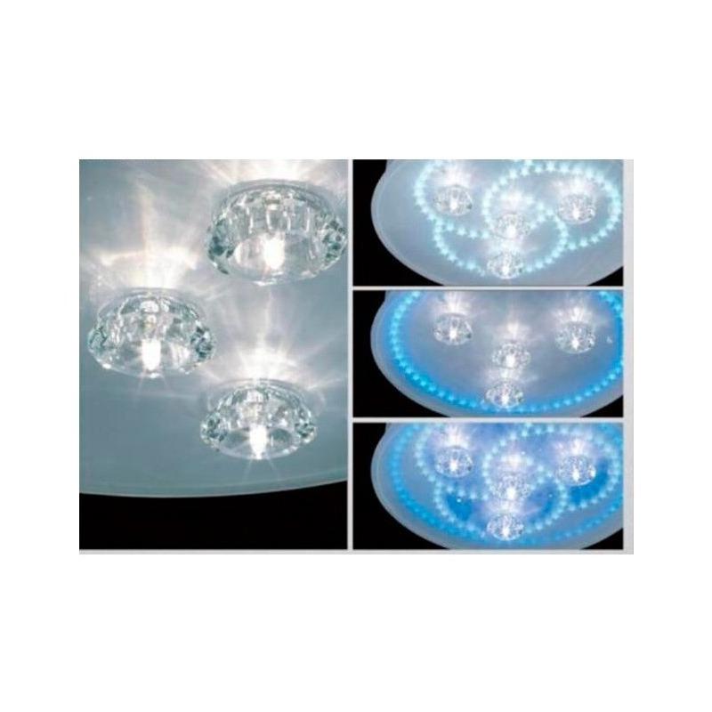 Lampara Plafon 4 Luces + Led Azul Control Remoto Motion Pal