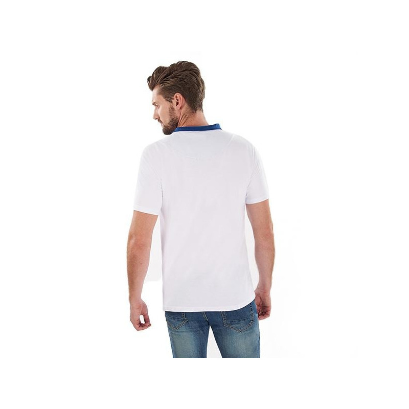 Camisa blanca cuello azul manga corta 014616