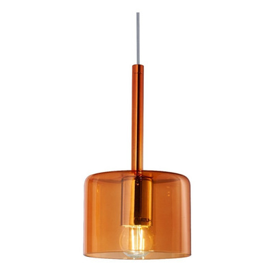 Colgante 1 Luz Bios Wide Naranja Apto Led Vidrio Moderno Lk
