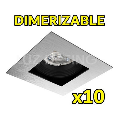 X 10 Spot Antideslumbrante Dimerizable Led 7w Acero Gu10