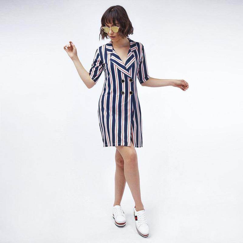 Vestido Marino Multicolor Con Botones 019456
