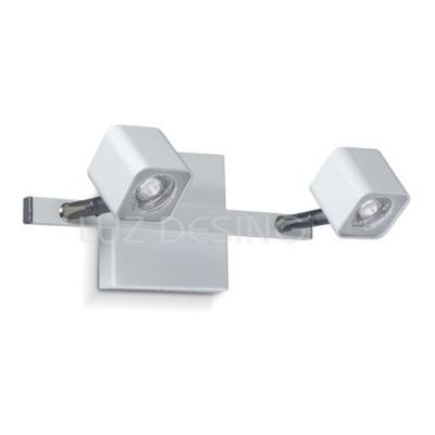 Aplique 2 Luces Cubo Spot Móvil Led Blanco Diseño Pal