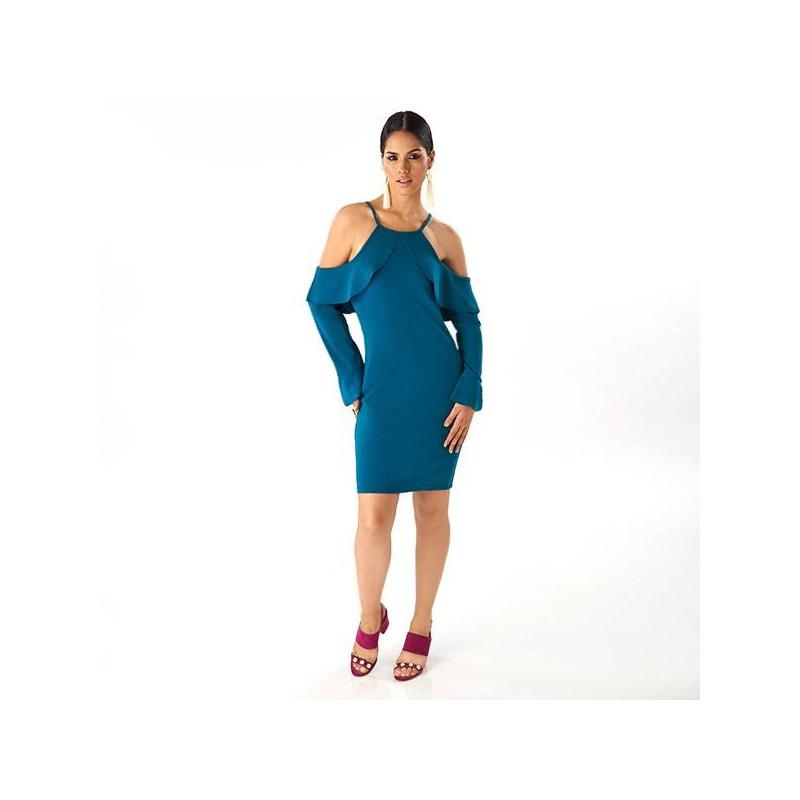 Vestido corto verde tirantes y olanes  019236
