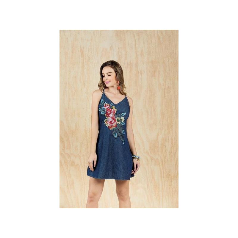 Vestido azul mezclilla estampado 015383