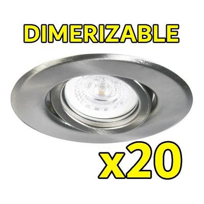 Pack X 20 Spot Embutir Acero Dicroica Led 7w Dimerizable